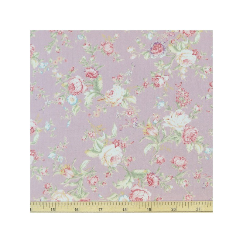 Rose Pink 100% Cotton Poplin Fabric Rose & Hubble Roses Bunches Flower Of Love