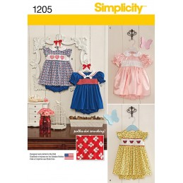 Simplicity Babies' Dress & Panties Dress Fabric Sewing Patterns 1205