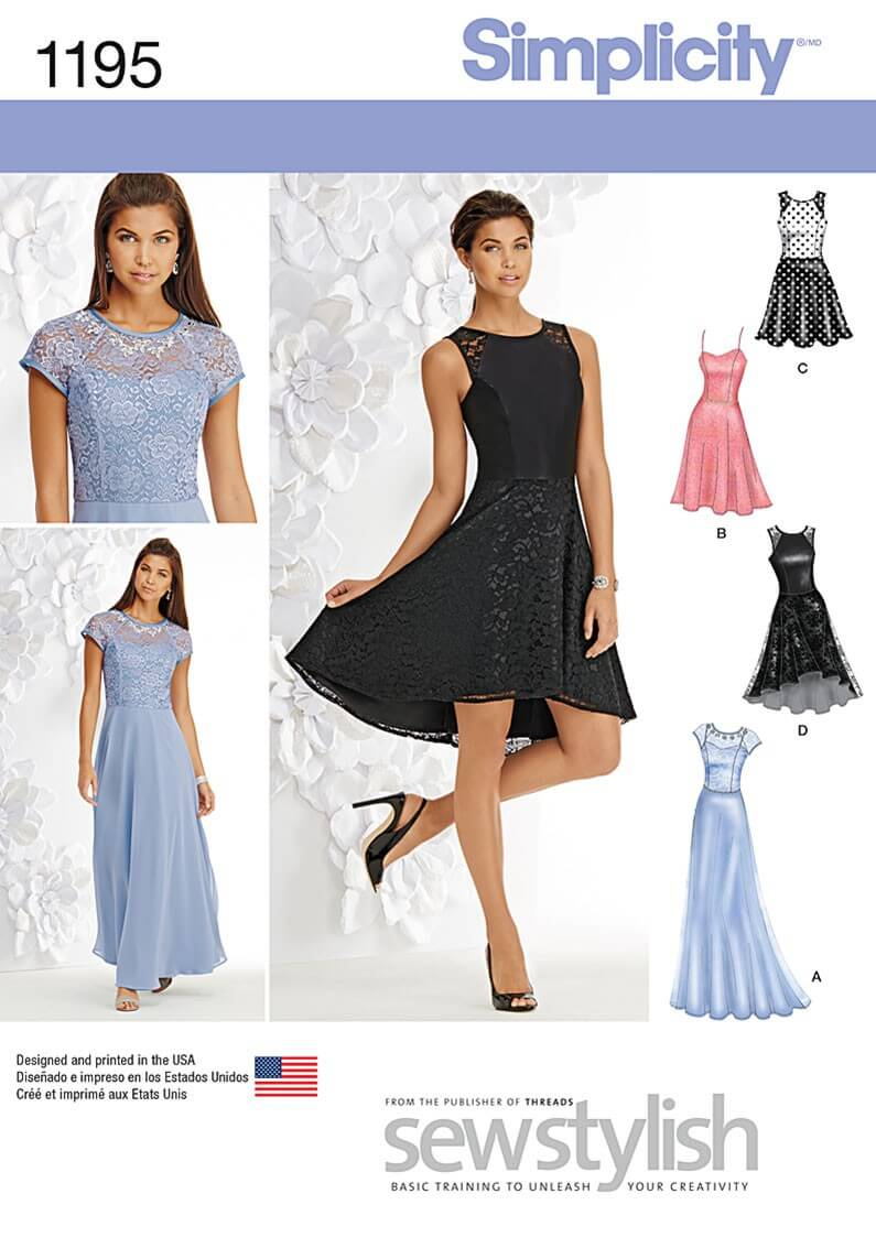 Misses' Special Occasion Dress With Bodice Simplicity Sewing Pattern 1195