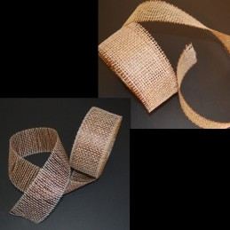 "2.5"" x 18 Yard Open Weave Straw Effect Polyester Hessian Jute Style Roll"