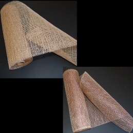 "21"" x 7 Yard Open Weave Straw Effect Polyester Hessian Jute Style Roll"