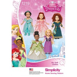 "Simplicity Disney Princess 18"" Doll Clothes Sewing Patterns 1219"