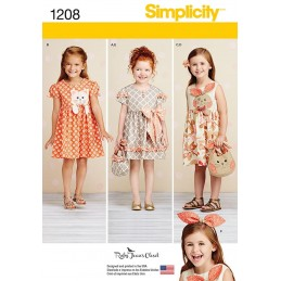 Simplicity Sewing Patterns 1208 Child's Dresses, Purses and Headband