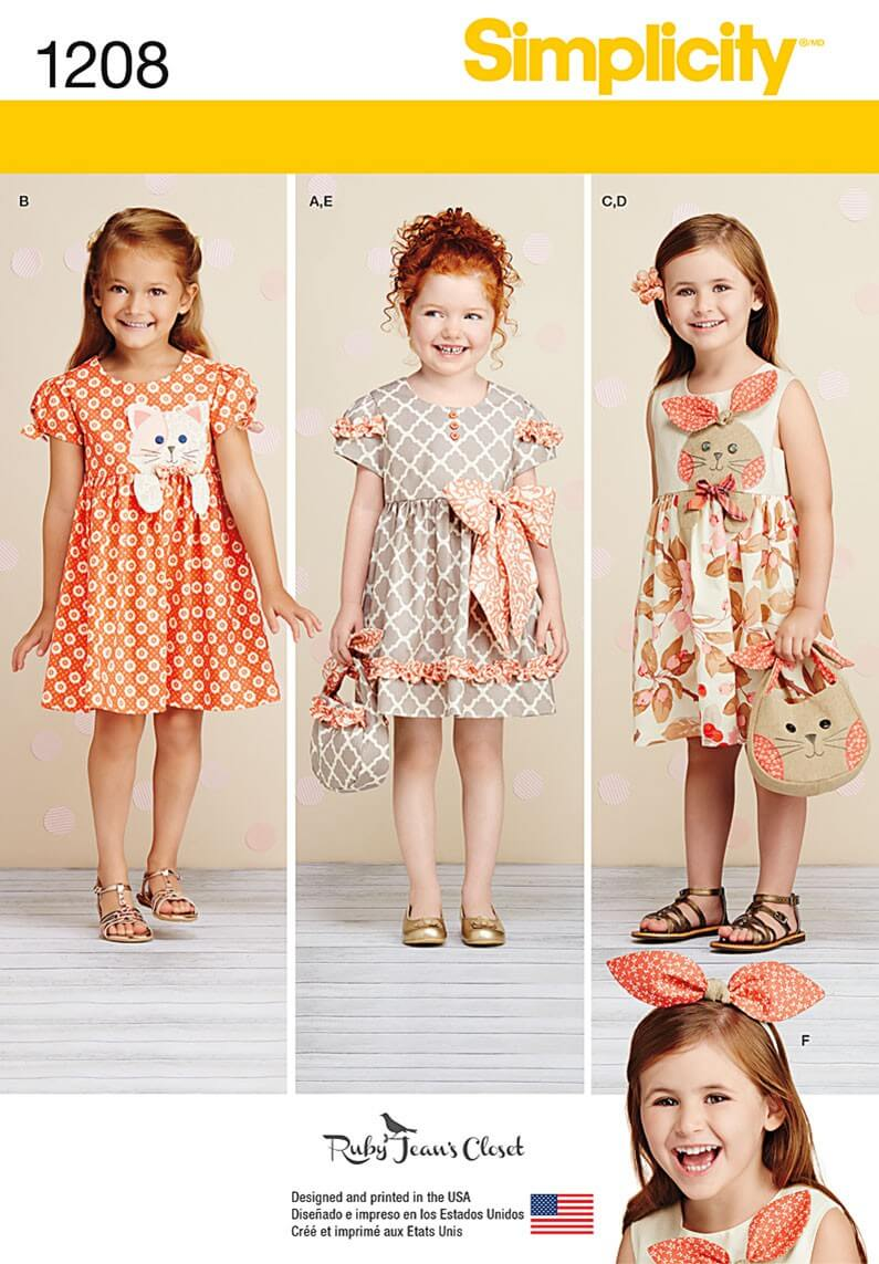 Child's Dresses, Purses and Headband Simplicity Sewing Patterns 1208