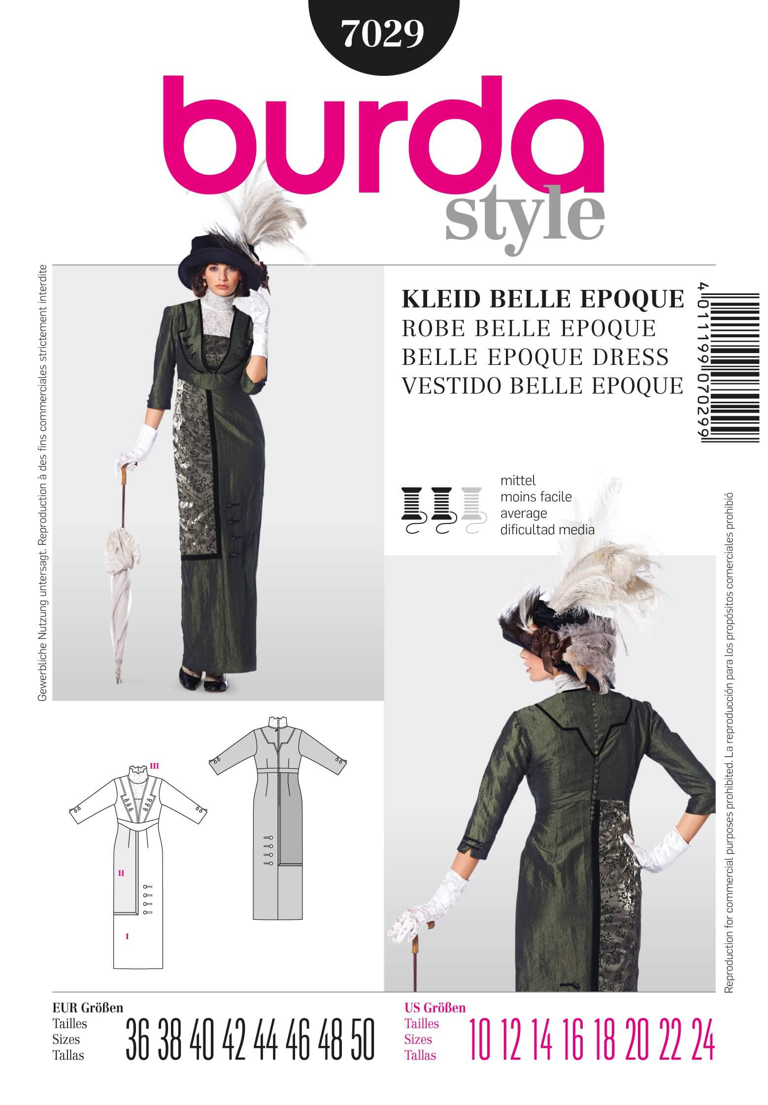 Burda Ladies Womens Belle Epoque Dress Fabric Sewing Pattern 7029