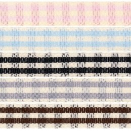 25mm x 1m & 3m Berisfords Rustic Gingham Polyester Craft Ribbon