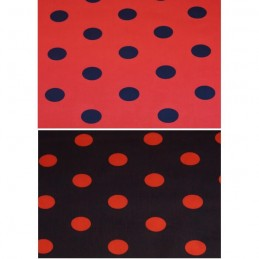 25mm Red & Black Polka Dot Spots Polycotton Fabric