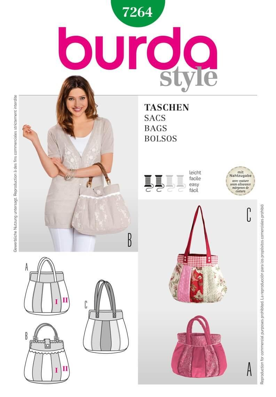Burda Bag Fabric Sewing Pattern 7264
