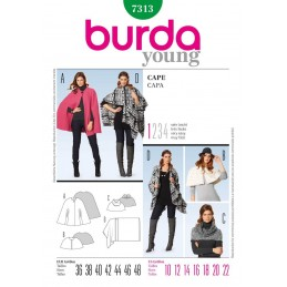 Burda Cape Poncho Fabric Sewing Pattern 7313
