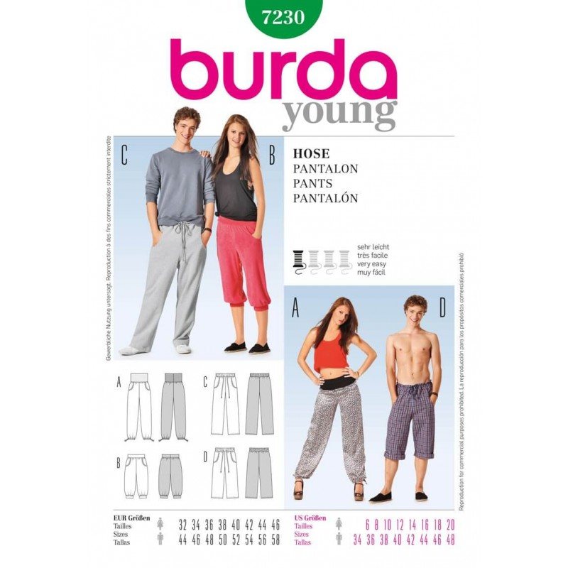 Burda Young Him & Her Sports Leisure Wear Fabric Sewing Pattern 7230