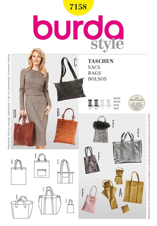 Burda Style BagsFabric Sewing Pattern 7158