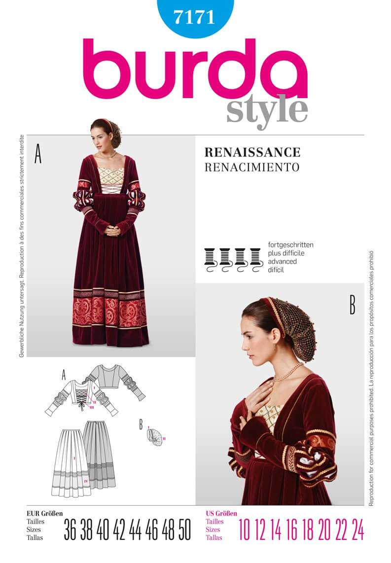 Burda Style Renaissance Dress Fancy Dress Fabric Sewing Pattern 7171