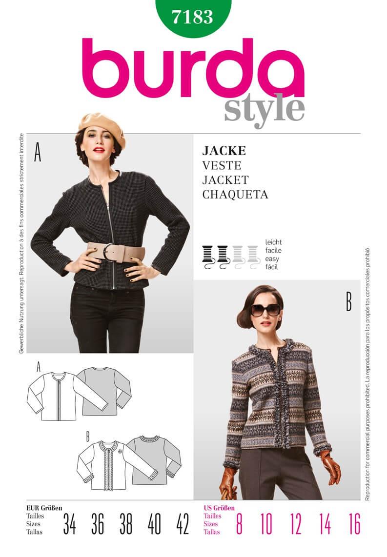 Burda Style Casual Jackets Fabric Sewing Pattern 7183