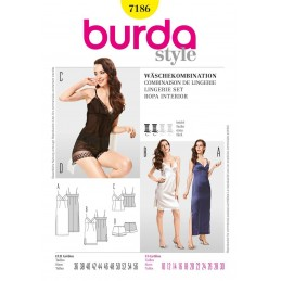 Burda Style Lingerie Set Fabric Sewing Pattern 7186