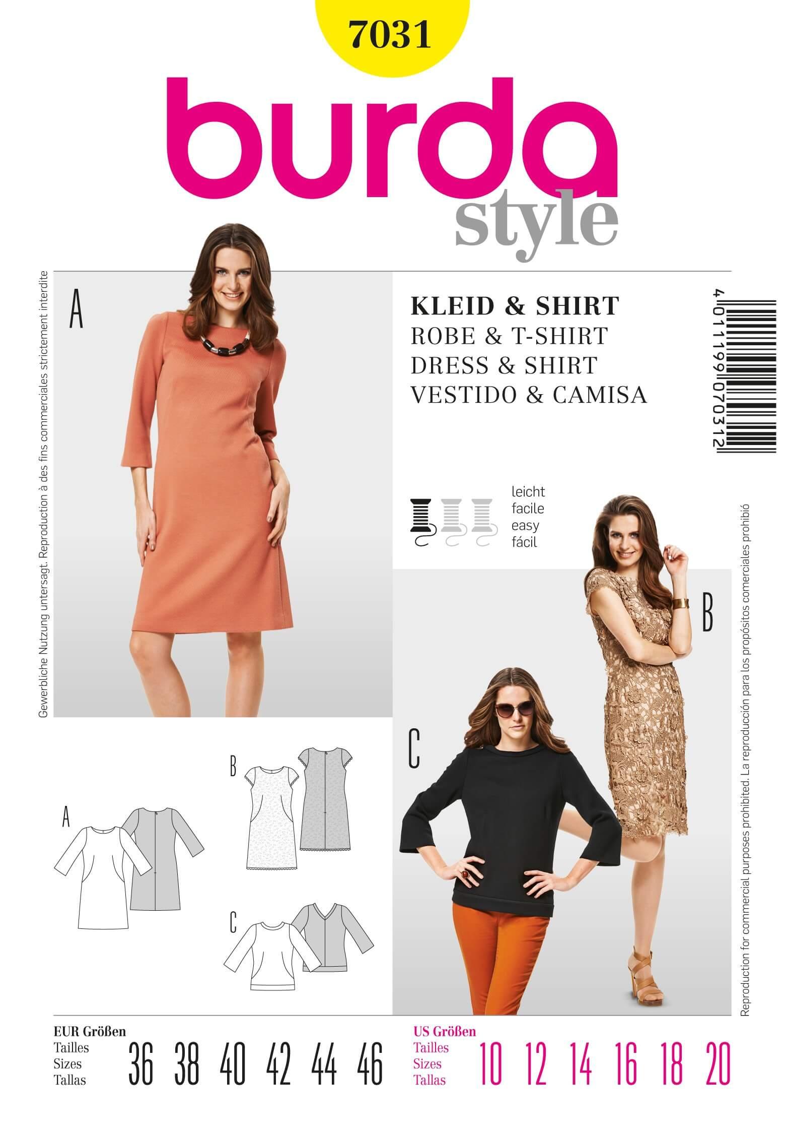 Burda Style Dress & Top Fabric Sewing Pattern 7131