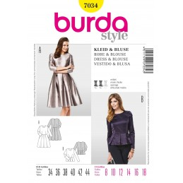 Burda Style Dress & Blouse Fabric Sewing Pattern 7034