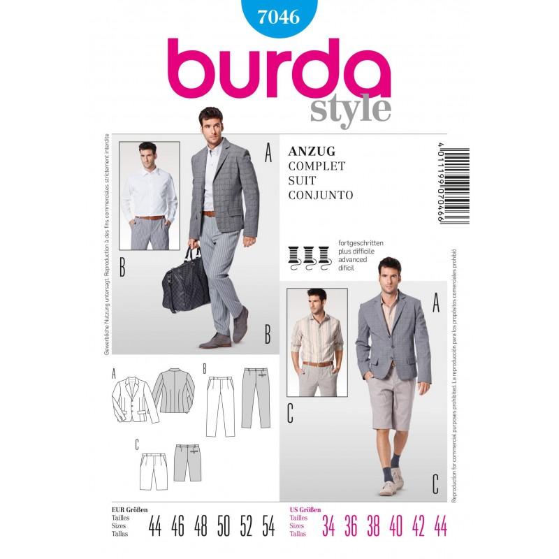 Burda Mens Suit Jacket Trousers Bermuda Shorts Fabric Sewing Patter...