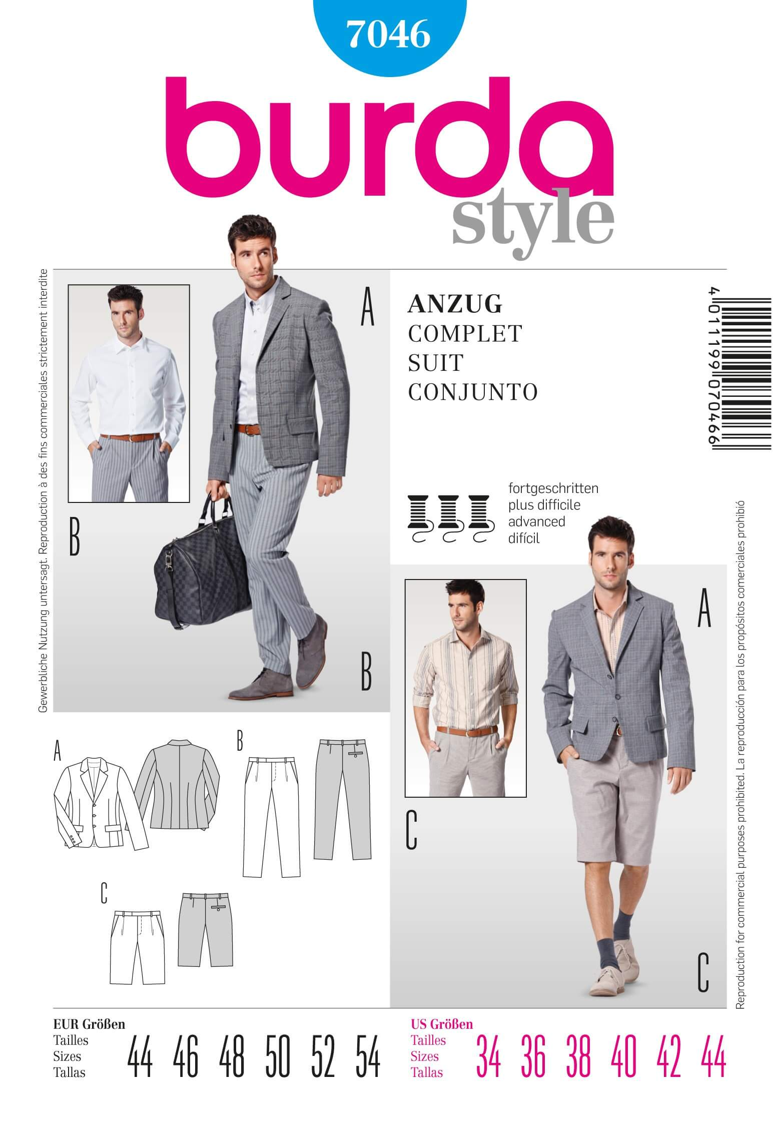 Burda Mens Suit Jacket Trousers Bermuda Shorts Fabric Sewing Pattern 7046