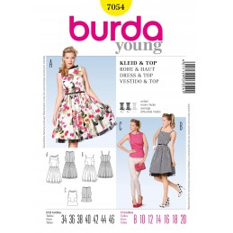 Burda Flared Dress & Top Fabric Sewing Pattern 7054