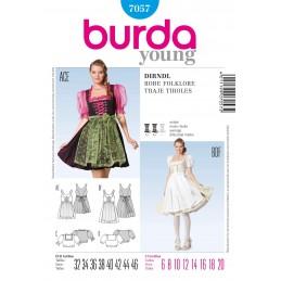 Burda Dirndl Dress & Top Folklore Fabric Sewing Pattern 7057