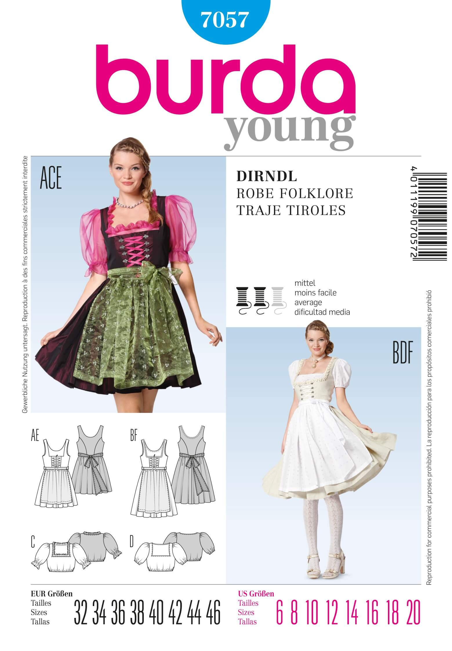 Burda Dirndl Dress & Top Folklore Fabric Sewing Pattern 7057
