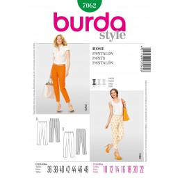 Burda Style Slender Trousers Fabric Sewing Pattern 7062