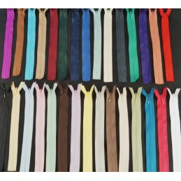 "Invisible Metal End Nylon Concealed 56cm / 22"" Zip Fastener 30 Colours"