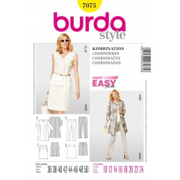 Burda Easy Top Trousers Skirt Jacket Fabric Sewing Pattern 7075