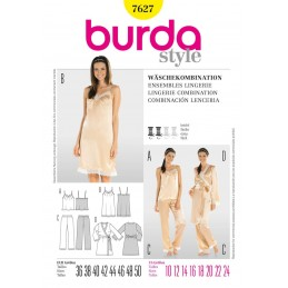 Burda Ladies Lingerie Nightwear Fabric Sewing Pattern 7627