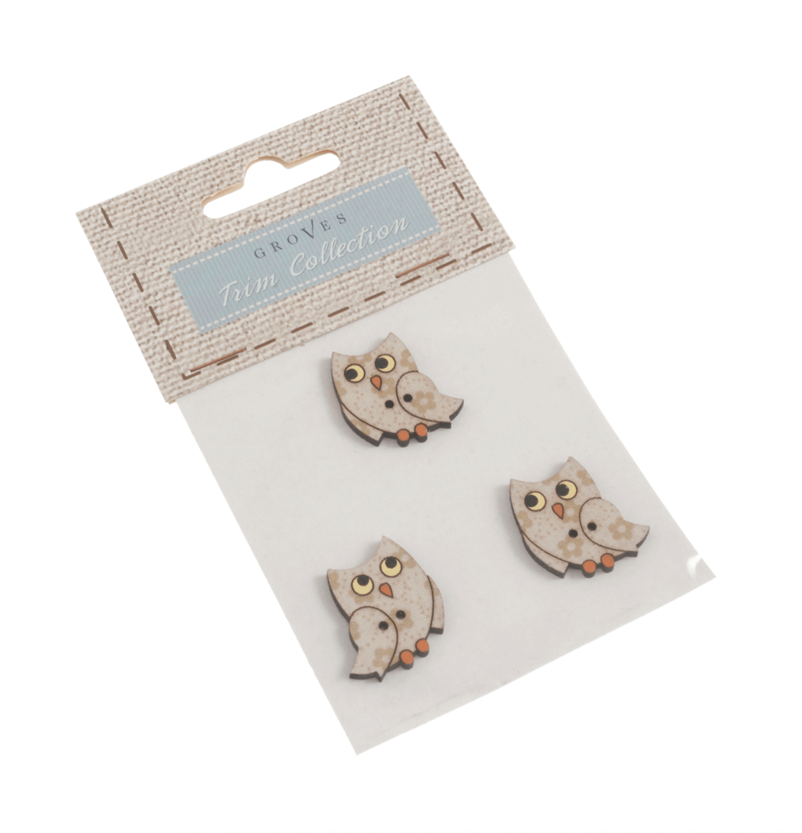 3 x Baby Owls Wooden Craft Buttons 25mm