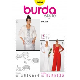 Burda Bolero Cardigan Jacket Fabric Sewing Pattern 7686