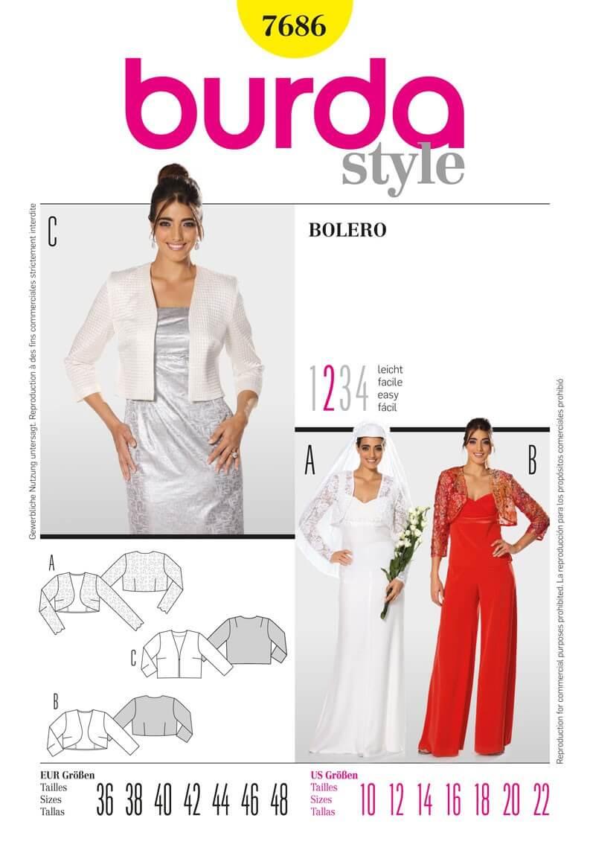Burda Bolero Cardigan Jacket Fabric Sewing Pattern 7686