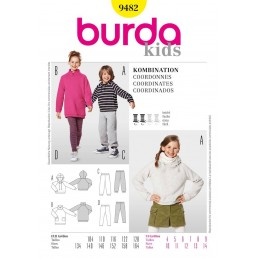 Burda Sewing Pattern 9482 Kids Girls Boys Hoodie Jogging Trousers Leggings