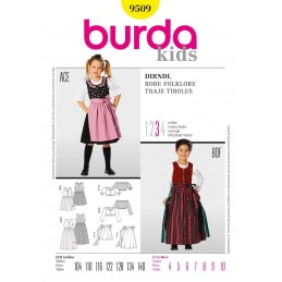 Burda Kids Girls Dirndl Dress Fabric Sewing Pattern 9509