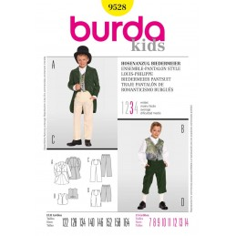 Burda Kids Boys Biedermeier Trouser Suit Costume Fabric Sewing Pattern 9528
