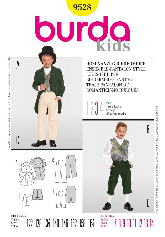 Burda Kids Boys Biedermeier Trouser Suit Costume Fabric Sewing Pattern 9528