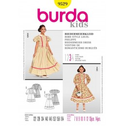 Burda Kids Girls Biedermeier Dress Costume Fabric Sewing Pattern 9529