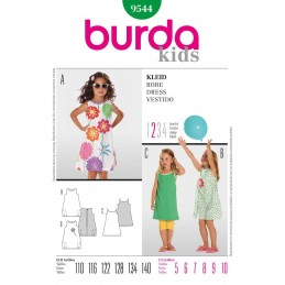 Burda Sewing Pattern 9544 Kids Girls Summer Dress Boule Style Fabric