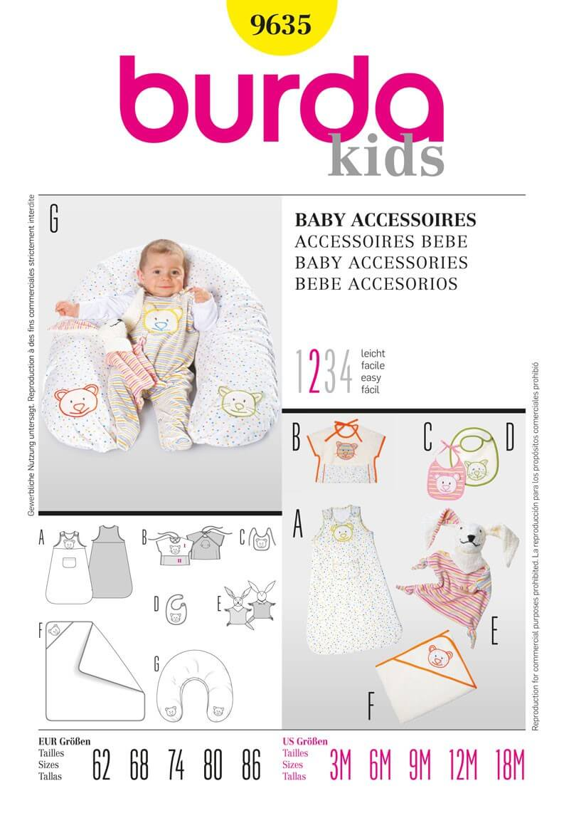 Burda Baby Sleeping Bag Bib Pillow Top Fabric Sewing Pattern 9635