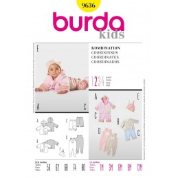 Burda Sewing Pattern 9636 Baby Romper Jacket Hat Fabric
