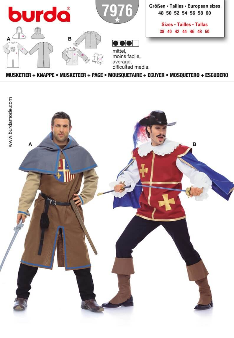 Burda Mens Musketeer & Page Fancy Dress Costume Fabric Sewing Pattern 7976