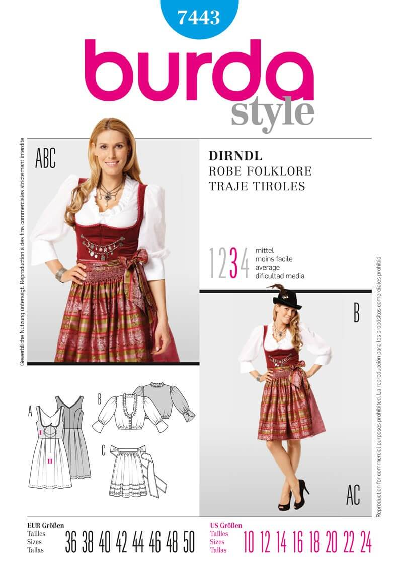Burda Ladies Drindl Folklore Fancy Dress Costume Fabric Sewing Pattern 7443
