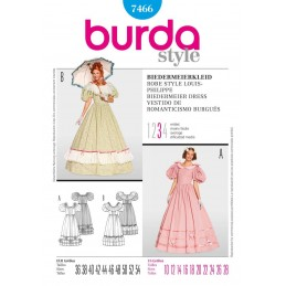 Burda Ladies Biedermeier Dress Fancy Dress Costume Fabric Sewing Pattern 7466