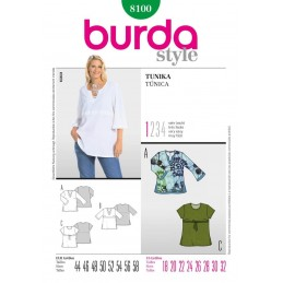 Burda Easy Ladies Tunic Top Fabric Sewing Pattern 8100