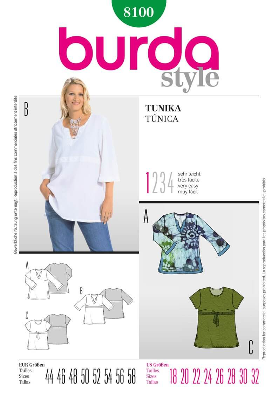 Burda Easy Ladies Tunic Top Fabric Sewing Pattern 8100