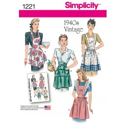 1940's Vintage Aprons Simplicity Fabric Sewing Pattern 1221