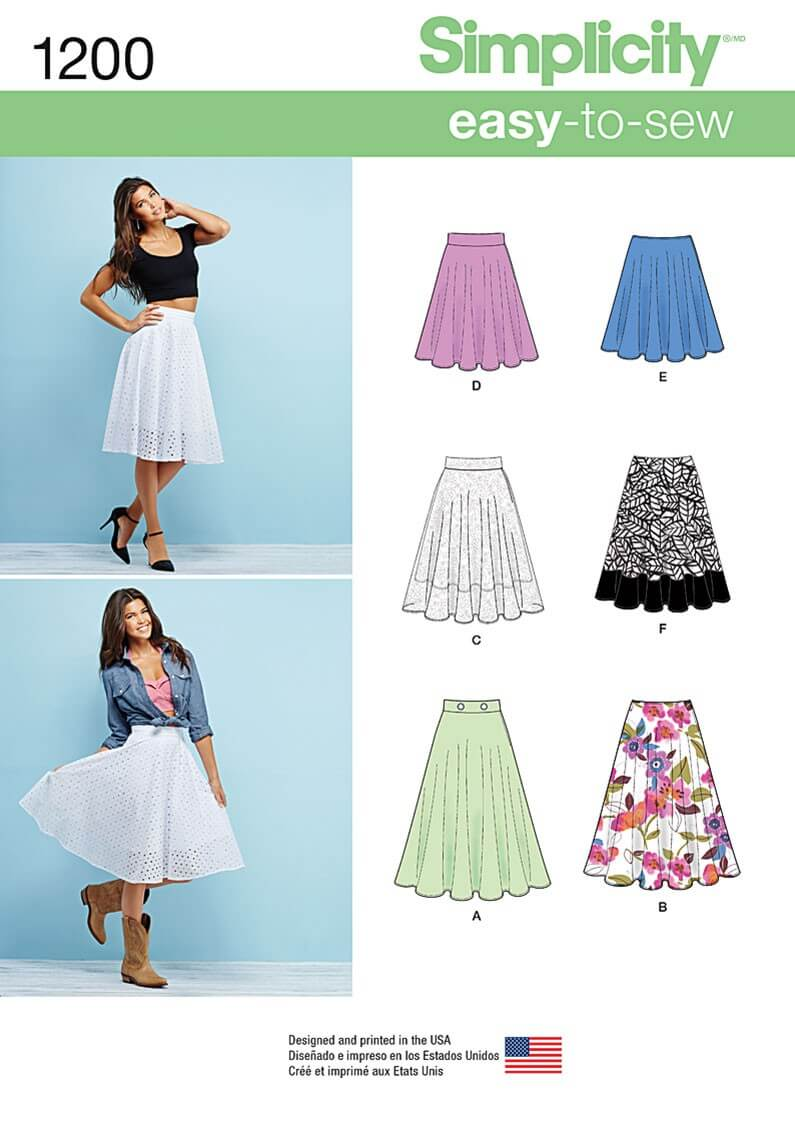 Easy To Sew 3/4 Skirts Simplicity Fabric Sewing Pattern 1200