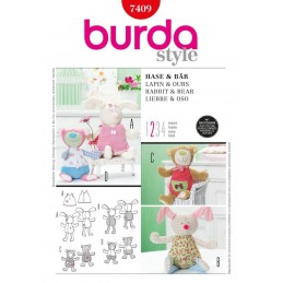 Burda Rabbit Bear Soft Plush Toys Fabric Sewing Pattern 7409