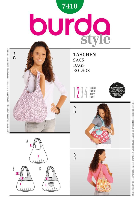 Burda Style Shoulder Bags Fabric Sewing Pattern 7410