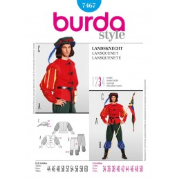 Burda Sewing Pattern 7467 Middle Age Guard Lansquenet Fancy Dress Costume Fabric
